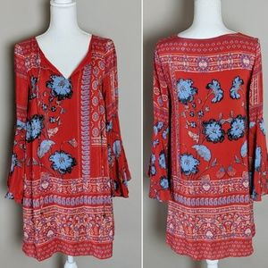 Anthro Vanessa Virginia Red Floral Bell Sleeve sz